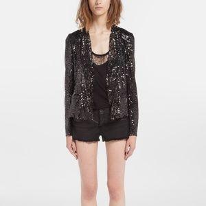 Maje Doucette sequin blazer silver black leather